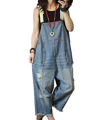 YESNO Women Casual Loose Cropped Denim Jumsuits Rompers 90s Jeans