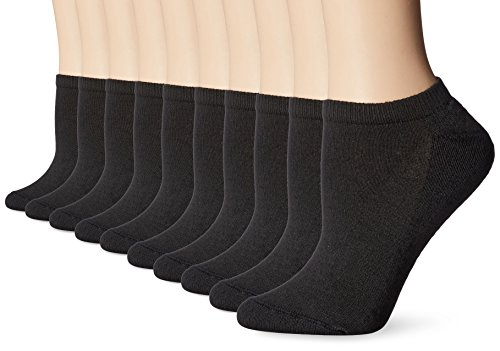 Hanes Big and Tall Women's Multi Pack No Show, Black, Sock Size