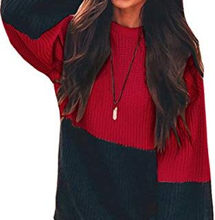 Angashion Women Sweaters-Oversized Chunky Knit Color Block Drop Shoulder