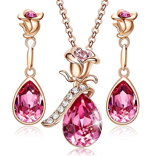 CDE Jewelry Set for Women Pink Flower Rose Gold Plated Pendant Embellished