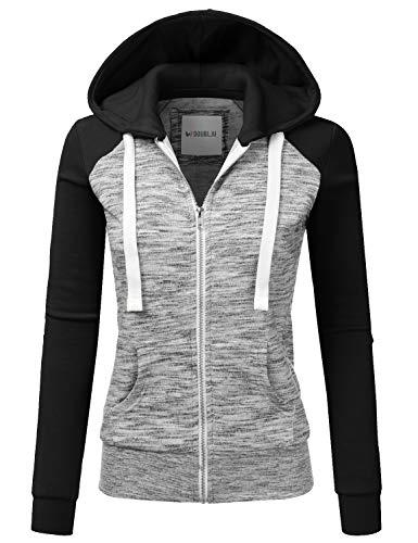 Doublju Womens Lightweight Soft Zip Up Raglan Fleece Hoodie Sweater Jacket