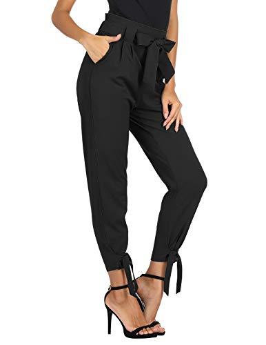 GRACE KARIN Women's Elastic Waist Comfy Bow Tie Hem Crop Skinny Pants