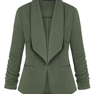 Unifizz Women's Stretch 3/4 Gathered Sleeve Open Blazer Jacket Army Green S