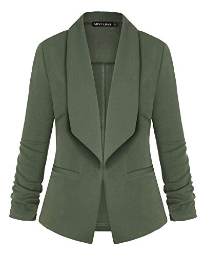 Unifizz Women's Stretch 3/4 Gathered Sleeve Open Blazer Jacket Army Green S
