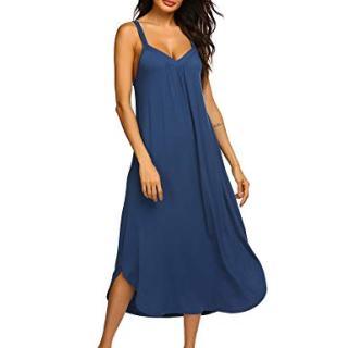 Ekouaer Nightgown Womens Sleeveless Sleepwear V Neck Sleep Dress Navy Blue