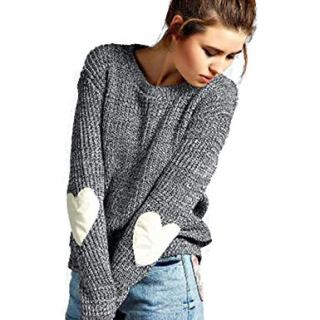 shermie Crew Neck Womens Sweaters Cute Heart Pattern Patchwork Long Sleeve