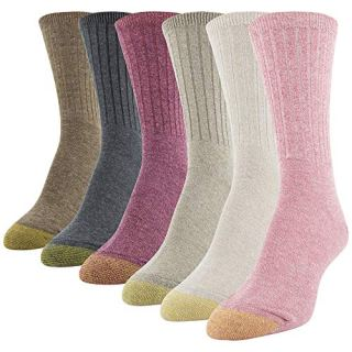 Gold Toe Women's Crew Socks, Pink, Khaki, Taupe, Grey, Chocolate