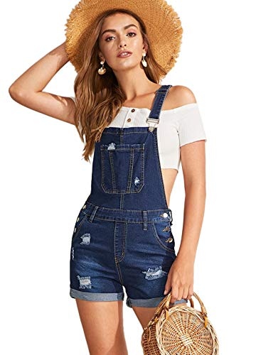 Milumia Women's Ripped Rolled Hem Denim Pinafore Overall Shorts Romper
