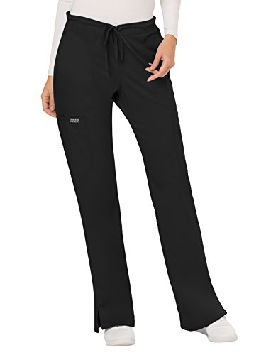 CHEROKEE Women's Mid Rise Moderate Flare Drawstring Pant, Black, Large