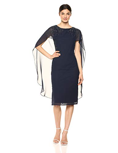 Adrianna Papell Women's Plus Size Sheer Cape Dress with Beaded Accents