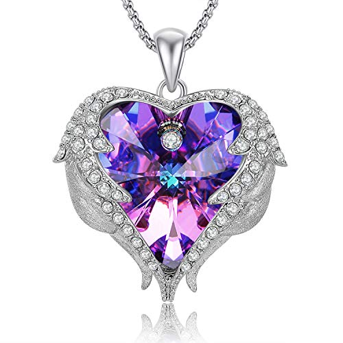 Caperci Angel Wings Purple Swarovski Crystal Heart Pendant Necklace