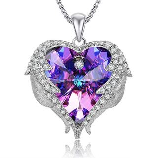 Caperci Angel Wings Purple Swarovski Crystal Heart Pendant Necklace