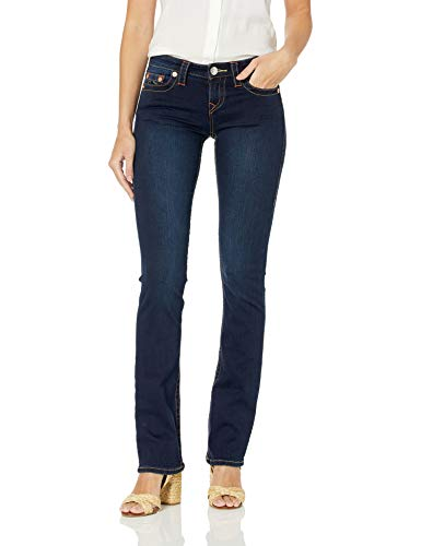 True Religion Women's Billie Mid Rise Straight Leg Rinse Jean