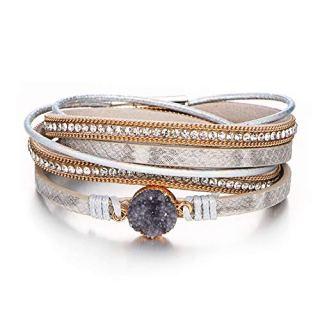 FINETOO Multi-Layer Wrap Leather Bracelet Handmade Braided