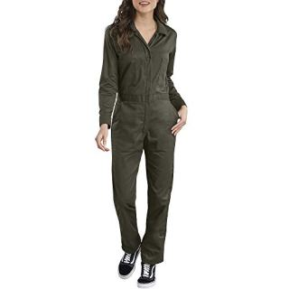Dickies Women's Long Sleeve Cotton Twill Coverall, Moss, Large