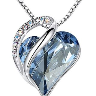 """Leafael""""Infinity Love"""" Heart Pendant Necklace Made with Swarovski Crystals"""