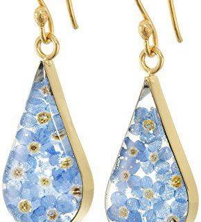 14k Gold Over Sterling Silver Blue Pressed Flower Teardrop Earrings