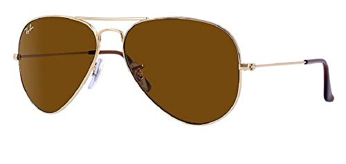 Ray Ban 55M Gold/ Brown Aviator + FREE Complimentary Eyewear Care Kit