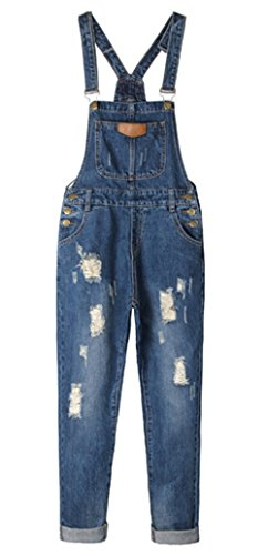 AvaCostume Women's Adjustable Strap Ripped Denim Overalls