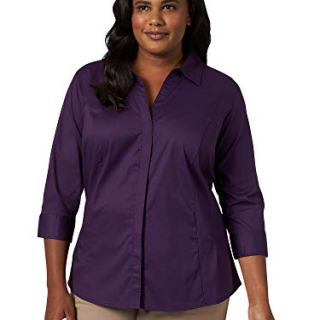 Riders by Lee Indigo Women's Plus Size Easy Care ¾ Sleeve Woven Shirt