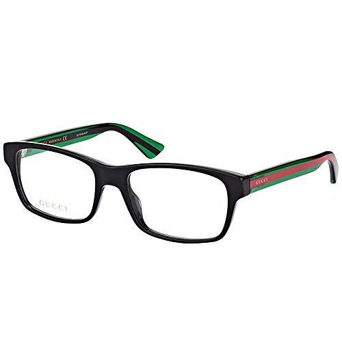 Gucci Black/Green Plastic Rectangle Eyeglasses 55mm