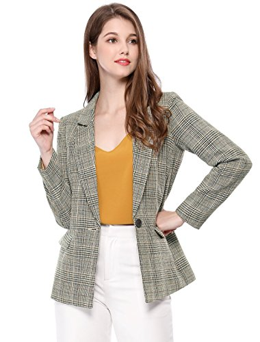 Allegra K Women's Boyfriend Notched Lapel One Button Plaid Blazer