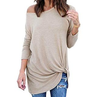 Yidarton Women's Comfy Casual Long Sleeve Side Twist Knotted Tops Blouse Tunic