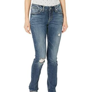Silver Jeans Co. Women's Elyse Relaxed Fit Mid Rise Straight Leg Jeans