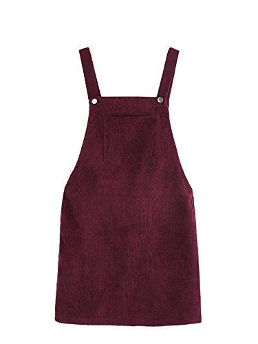Romwe Women's Straps A-line Corduroy Pinafore Bib Pocket Overall Dress