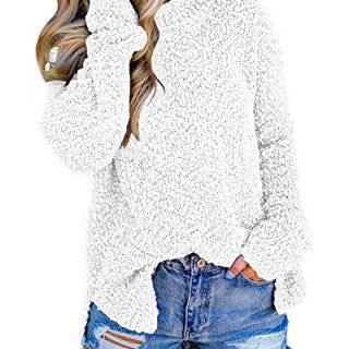 Imily Bela Womens Fuzzy Knitted Sweater Sherpa Fleece Side Slit Full Sleeve