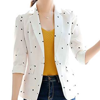 SUSIELADY Women's Casual One Button Blazer Jacket Slim Fit Work Office Blazer