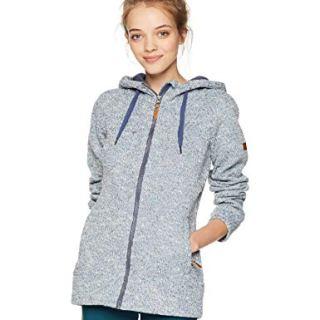 Roxy Snow Junior's Doe Zip-Up Hooded Sweatshirt, Crown Blue