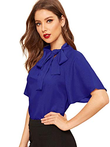 SheIn Women's Casual Side Bow Tie Neck Short Sleeve Blouse Shirt Top X-Large