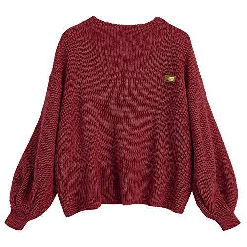 ZAFUL Women's Casual Loose Knitted Sweater Lantern Sleeve Crewneck