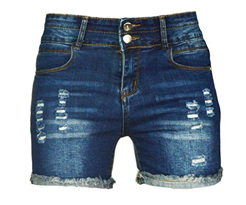 PHOENISING Women's Sexy Stretchy Fabric Hot Pants Distressed Denim Shorts