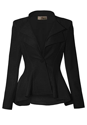 Women Double Notch Lapel Office Blazer Black Medium