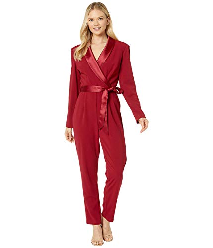 Adrianna Papell Women's Long Sleeve Crepe Jumpsuit with Tuxedo Collar