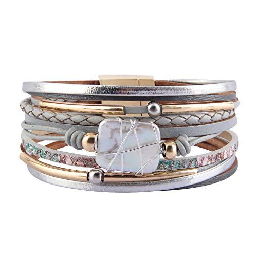 AZORA Womens Leather Cuff Bracelet Baroque Pearl Wrap Bracelets Gorgeous Gold