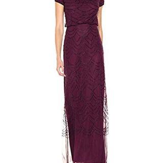 Adrianna Papell Women's Short Sleeve Beaded Blouson Gown, Cassis