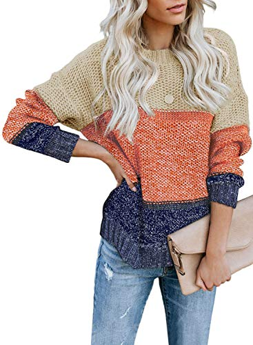 Lovezesent Womens Long Sleeve Oversized Pullover Sweaters Color Block