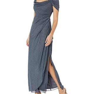 Alex Evenings Women's Long Cold Shoulder Dress Regular Sizes
