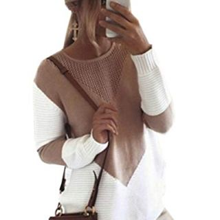 shermie Women Long Sleeve Crew Neck Pullovers Stitching Color Loose Knitted