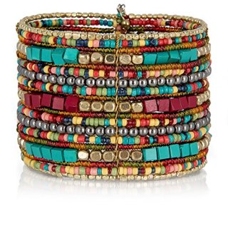 SPUNKYsoul Bohemian Multi-Colored Beaded Cuff Bracelets for Women Collection