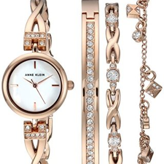 Anne Klein Women's Swarovski Crystal Accented Rose Gold-Tone Watch