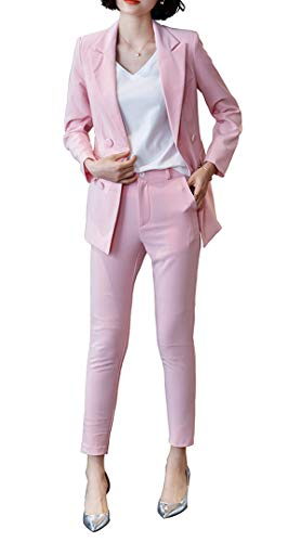 LISUEYNE Women's Two Pieces Blazer Office Lady Suit Set Work Blazer Jacket