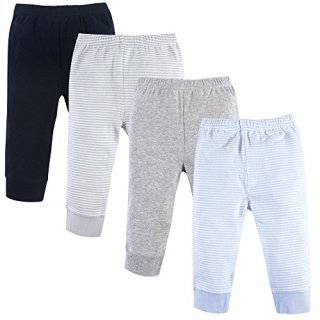 Luvable Friends Baby Cotton Pants, Powder Blue Stripe 4-Pack