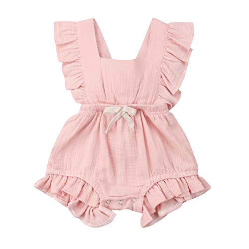 YOUNGER TREE Toddler Baby Girl Ruffled Sleeveless Romper Casual