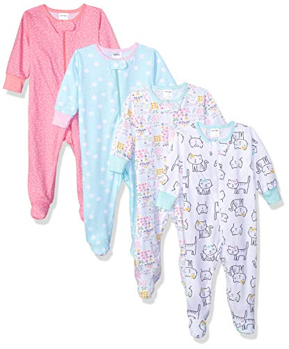 Onesies Brand Baby Girls' 4-Pack Sleep 'N Play, Cats, 6-9 Months
