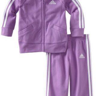 adidas Baby Girls' Tricot Zip Jacket and Pant Set, Purple Basic