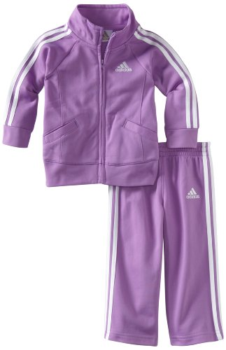 adidas Baby Girls' Tricot Zip Jacket and Pant Set, Purple Basic